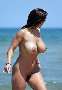 Brunette milf perverse nudist show on beach her strong tots and beautiful hairy wet pussy