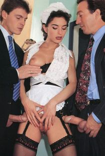Maid and two businessmen play I'll show you mine if you show me yours. Then they play..